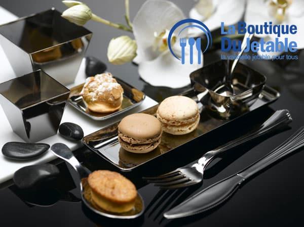 vaisselle jetable en plastique couleur argent - Assiette Jetable Mariage